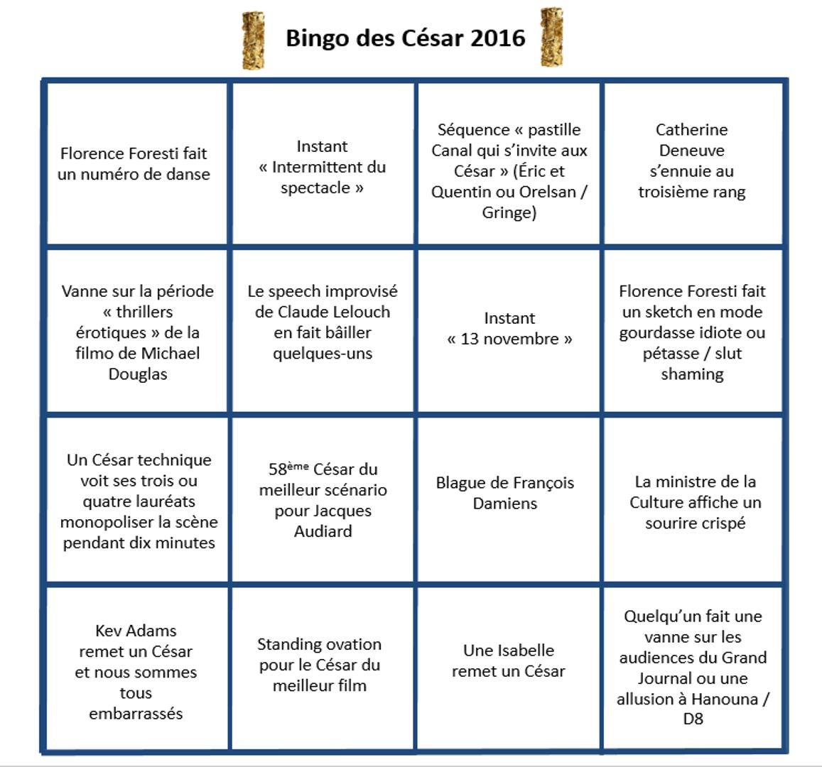 Bingo césar 2016 scène